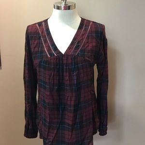 Knox Rose Plaid Long Sleeve Small Tunic Blouse Top